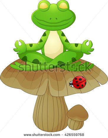 frog cartoon sitting on mushroom   Frog crazzzy!   Pinterest