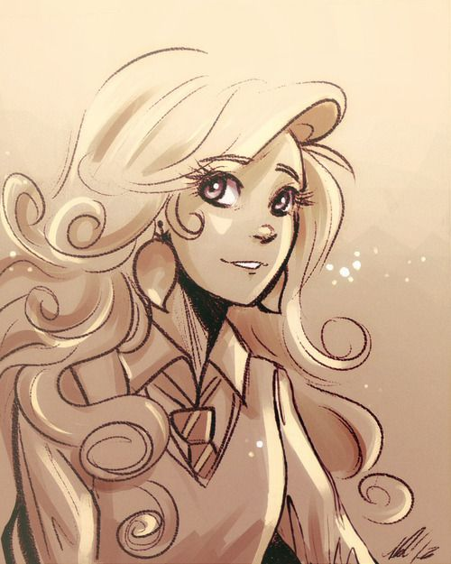 A Beautiful Luna Lovegood Drawing Even Though She Is A Ravenclaw And The Tie She Is Wearing Is R Harry Potter Sketch Luna Lovegood Drawing Harry Potter Fan Art