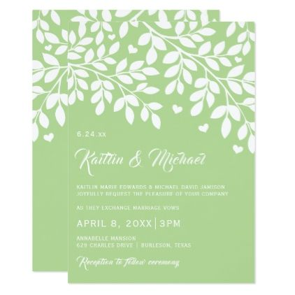 Editable hearts branches invitation pale green template editable hearts branches invitation pale green template gifts custom diy customize stopboris Image collections