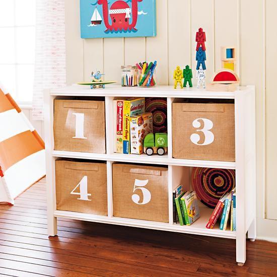 The Land Of Nod Kids Storage Canvas Number Storage Bins In