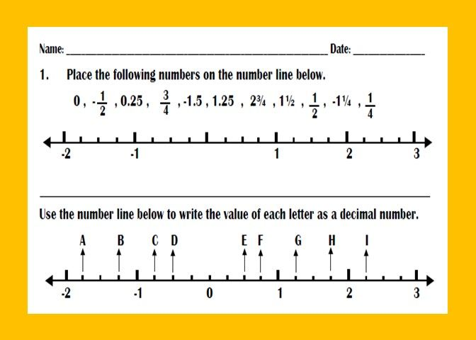 Ordering Fractions And Decimals On Number Line Worksheet