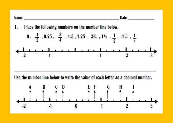 Ordering Fractions and Decimals on Number Line Worksheet ...