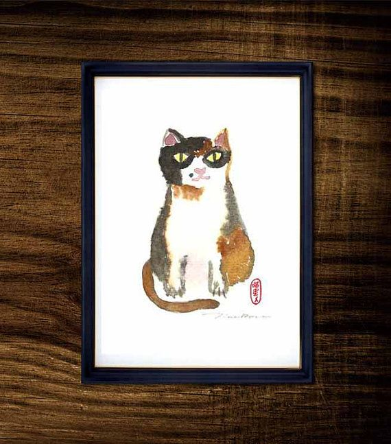 Nosey cat watercolor illustration, 5x7 Art print, Nursery room decoration, Kid wall decor, Baby room decor, Nursery art, Tri color cat (C4)
