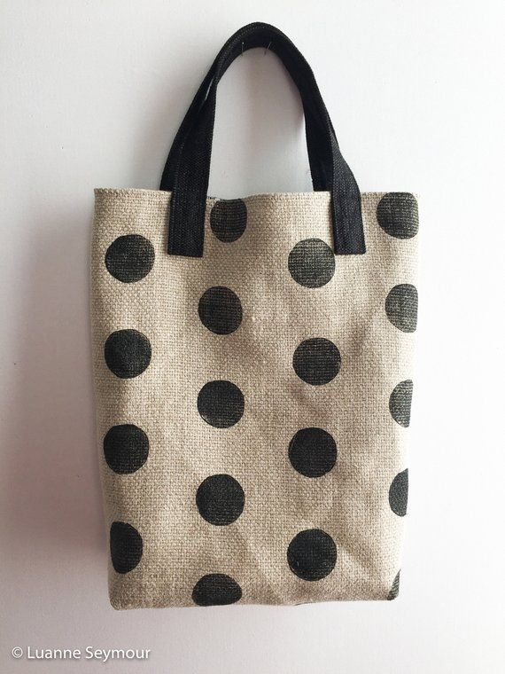 Hand block printed designer linen tote bag - polka dots and stripes ... 61caa67a8ff