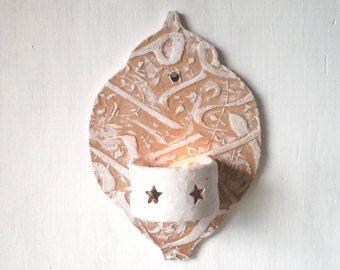 Applique murale en céramique de style marocain, petit photophore carré pour salle de bain véranda ou Cour boho pendaison de crémaillère cadeau par Louise Fulton Studio