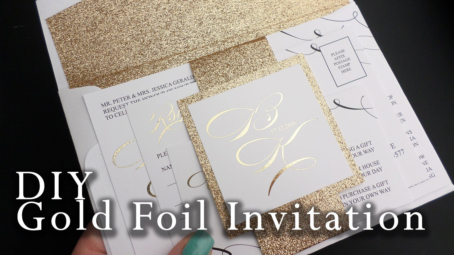 How to make your own gold foil belly band wedding invitation | DIY ...