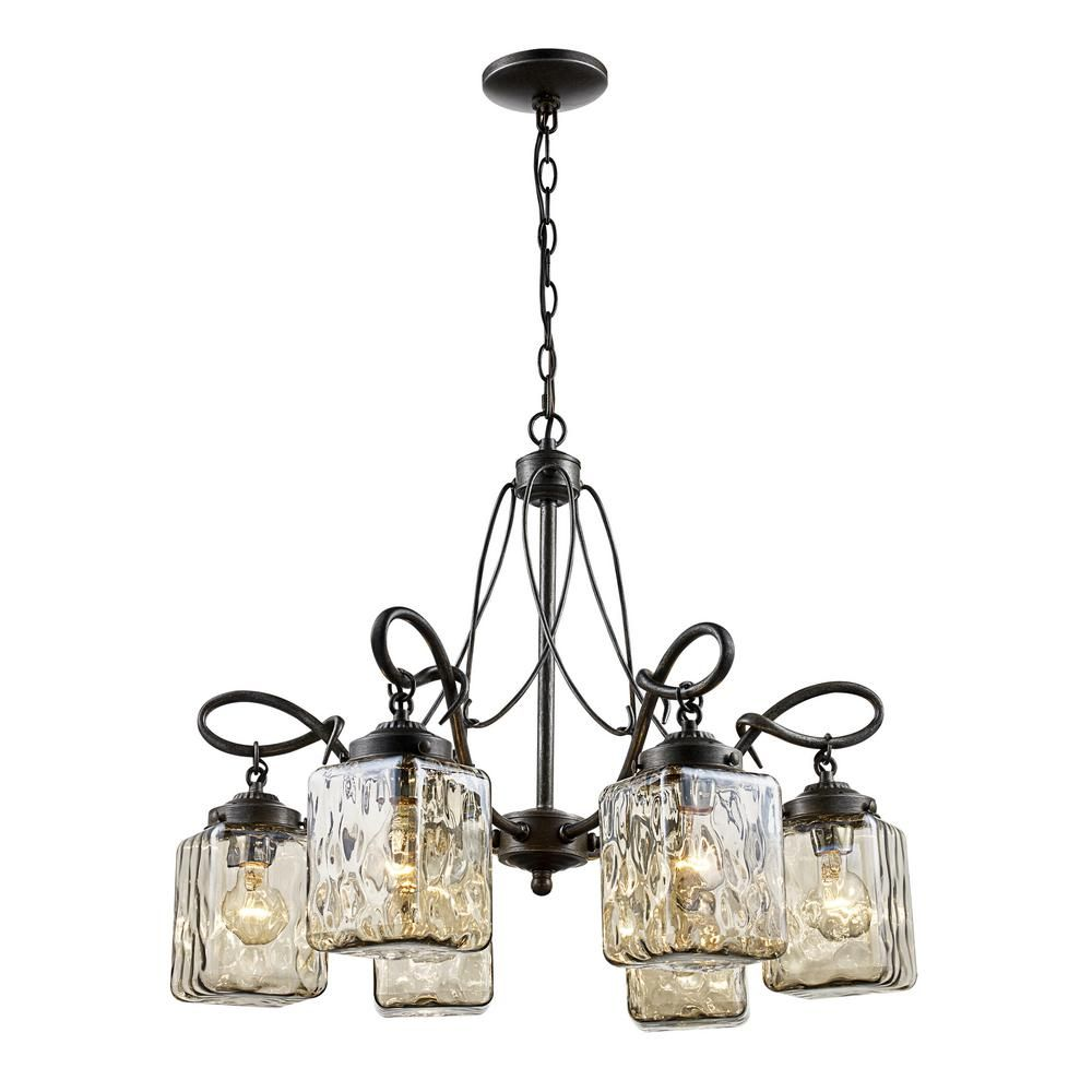 Bel Air Lighting Moore 6 Light Antique Bronze Chandelier With Water Glass Shades