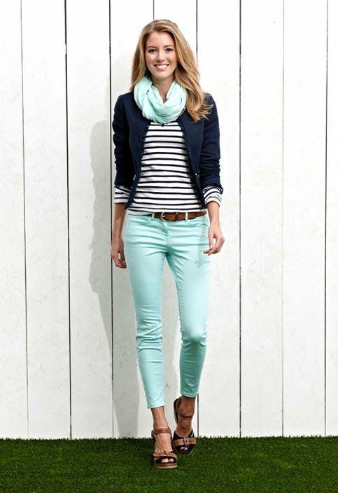 1cadc7b94 Stripes cute blouse with magic mint casual plan jeans and cute scarf and  navy blue jacket and brown leather belt and stylish sandals
