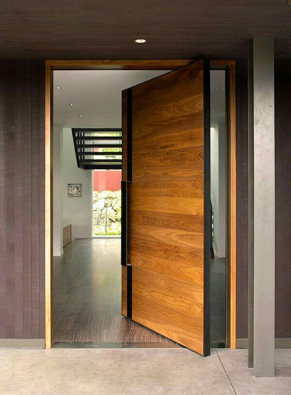 Pivot Door With Metal Pull