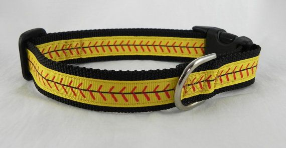 Hey, I found this really awesome Etsy listing at https://www.etsy.com/listing/226770489/softball-stitches-dog-collar