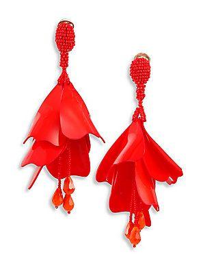 Oscar De La Renta Impatiens large clip-on earrings - Red mJPXDLMvI