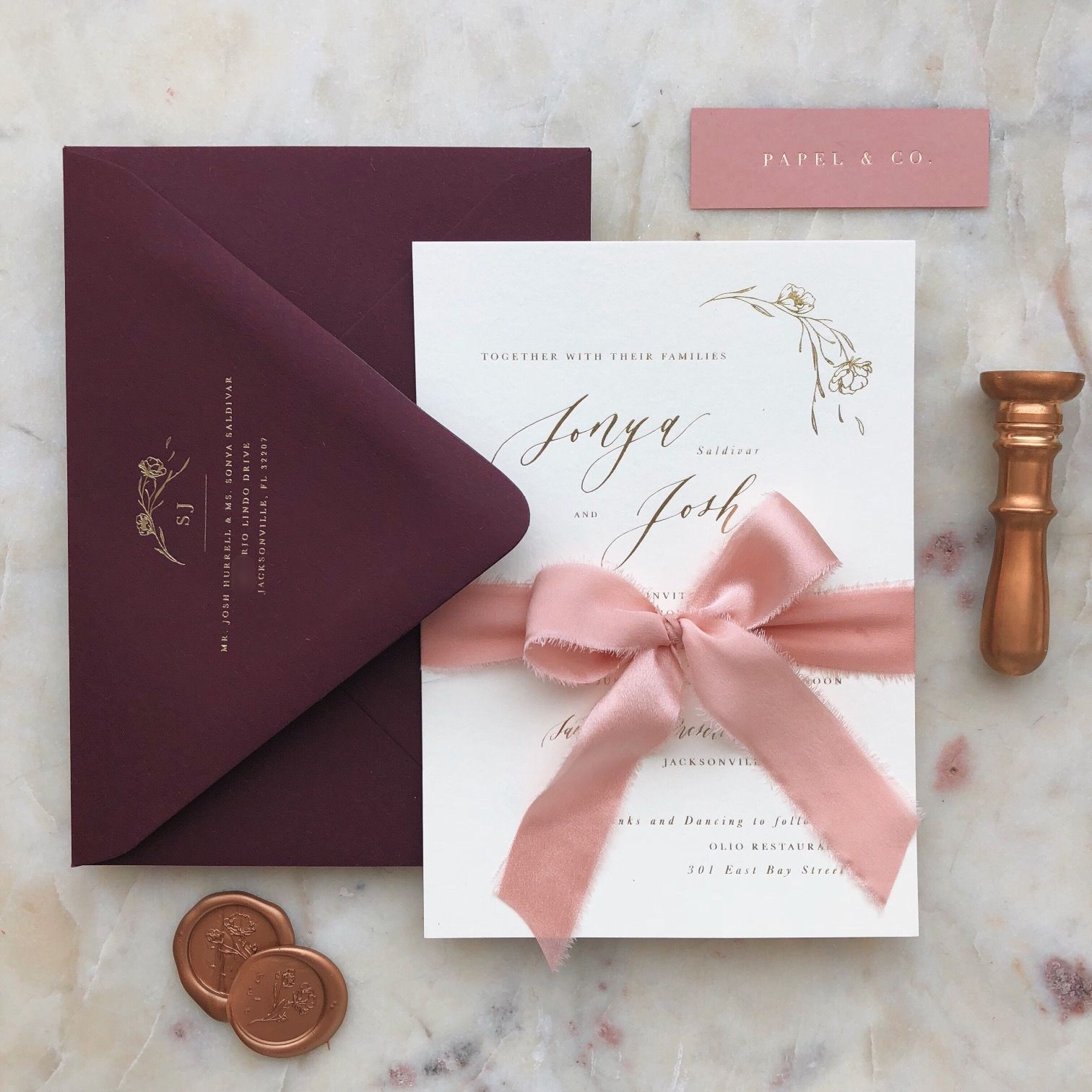 Burgundy And Dusty Rose Wedding Invitations With Ribbon