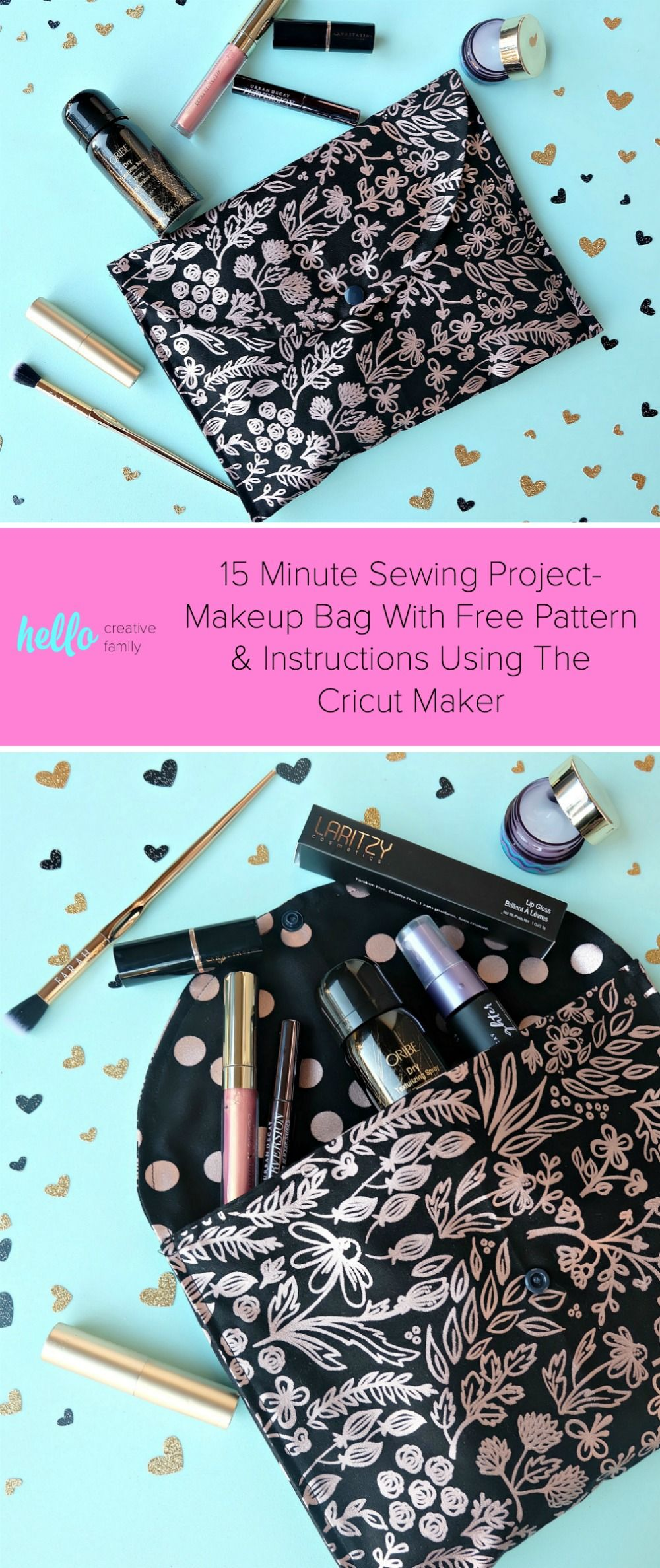 This 15 minutes sewing project is going to rock your socks off Learn how to make a gorgeous DIY Makeup Bag which would also make the cutest envelope purse This is an easy...