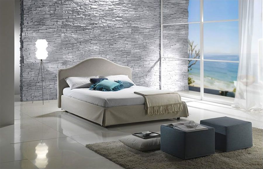 Pareti in pietra per camera da letto moderna 08   Camere da letto ...