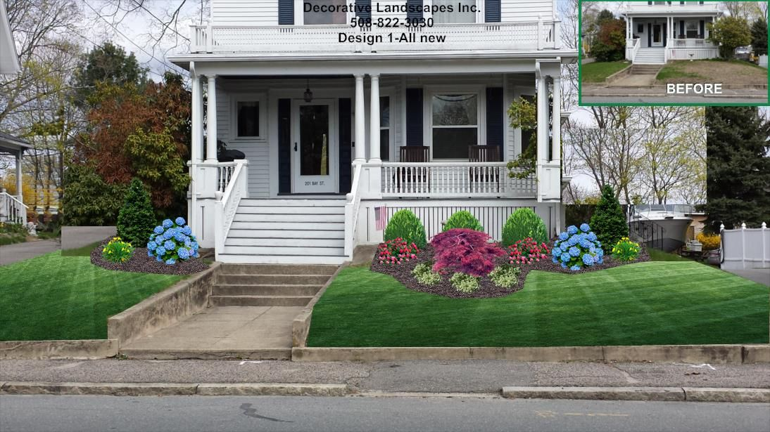 Home Landscaping Designs Style Old Style Colonial Front Bed Landscape Design Ma  Front Of Home .