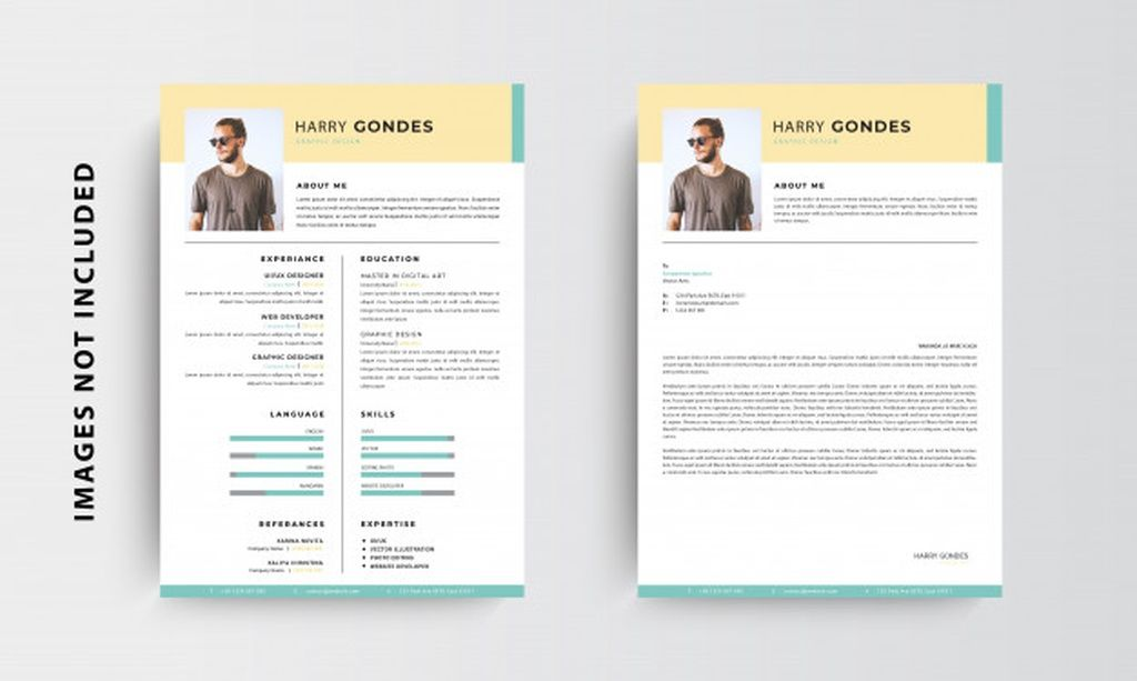 Professional Minimalist Cv Resume And Letterhead Template Design Green And Yellow Vector Paid Ad Ad Letterhead Template Template Design Flyer Design