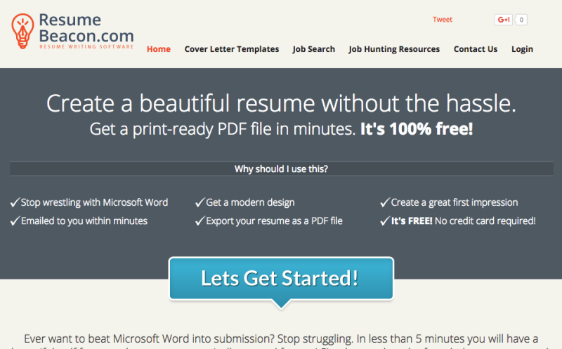 Lifehacker: Resume Beacon Is A Simple, Free, Non Flashy Online Resume  Builder