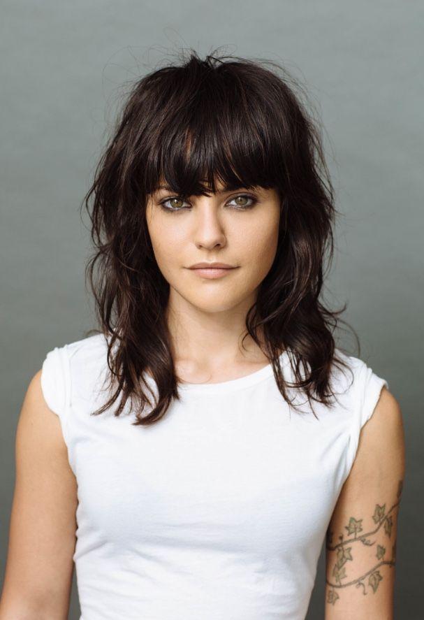 Bangs Brunette Haircut Hairstyle Minimal