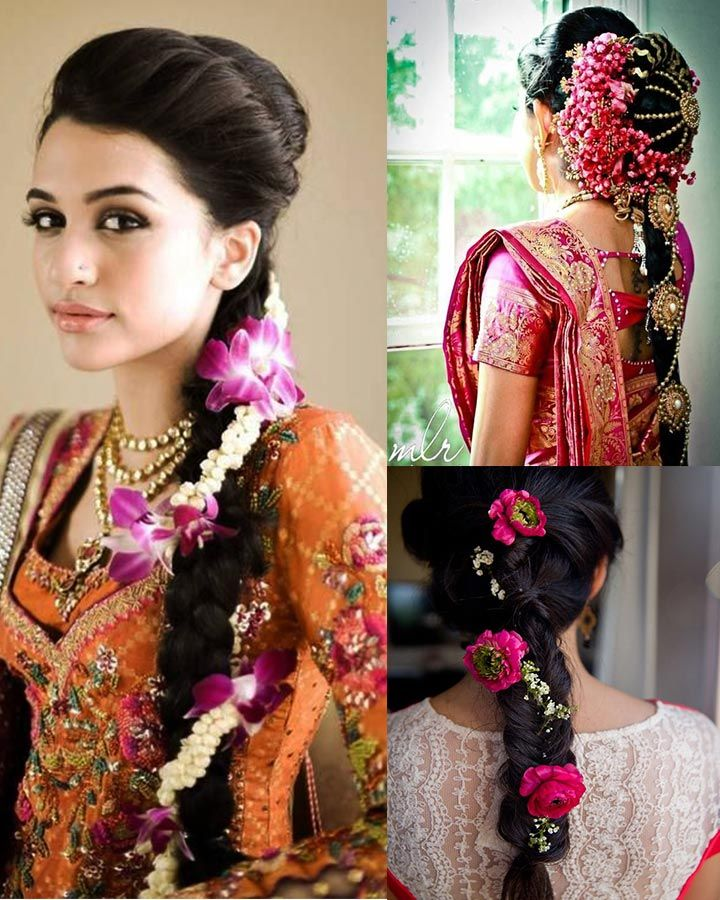 10 Indian Bridal Hairstyles For Long Hair Indian Bridal Hairstyles South Indian Wedding Hairstyles Long Hair Wedding Styles