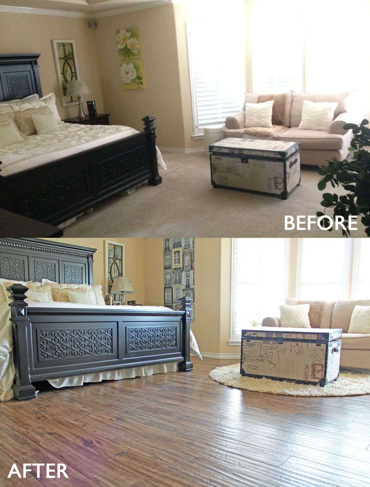 Master Bedroom Remodel Before And After From Carpet To Wood Look Tile Floors
