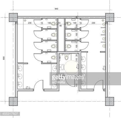 Vector Drawing Of Public Restroom With Separate Handicapped Toilet Public Restroom Design Restroom Architecture Restroom Design