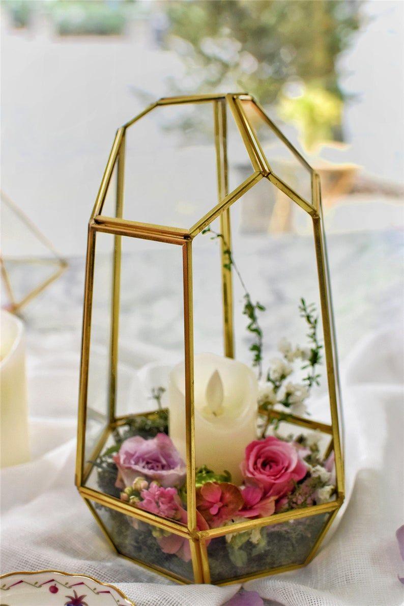Ncyp Handmade Glass Geometric Terrarium Irregular Brass Gold For Wedding Centerpiece Candle Holder Decor With Images Candle Holder Decor Geometric Terrarium Candle Holders Wedding Centerpieces