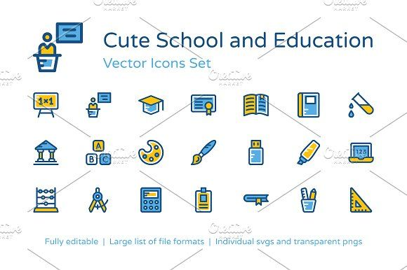 125 School And Education Icons By Prosymbols On Creativemarket