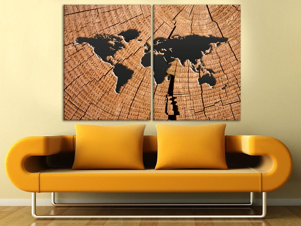 Wooden world map world map canvas art wood panel world map map wall items similar to wooden world map world map canvas art wood panel world map map wall hanging map wall decor wood world map split canvas brown world map art gumiabroncs Image collections
