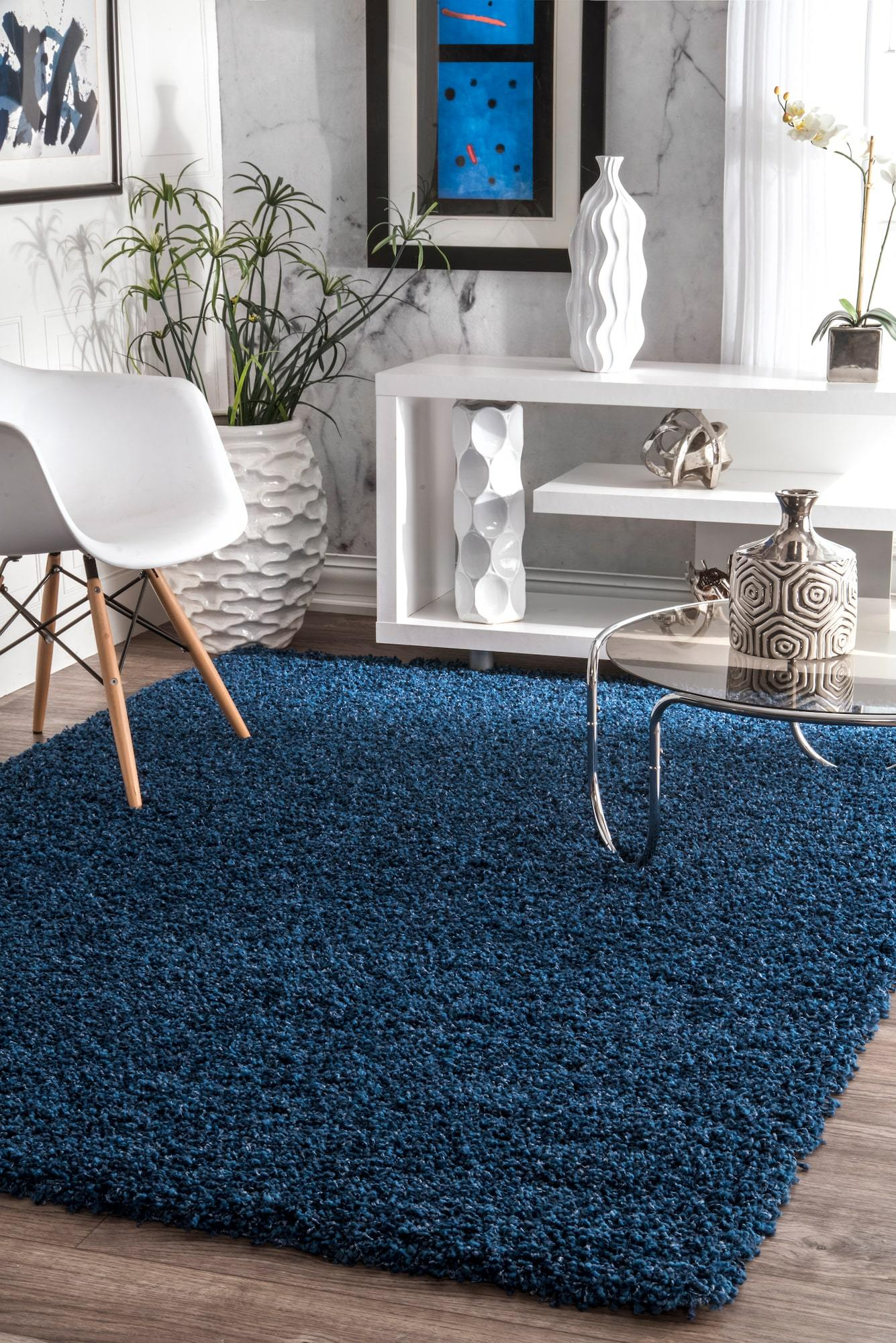 Comforting Office Rug In Blue Plush Shag Products