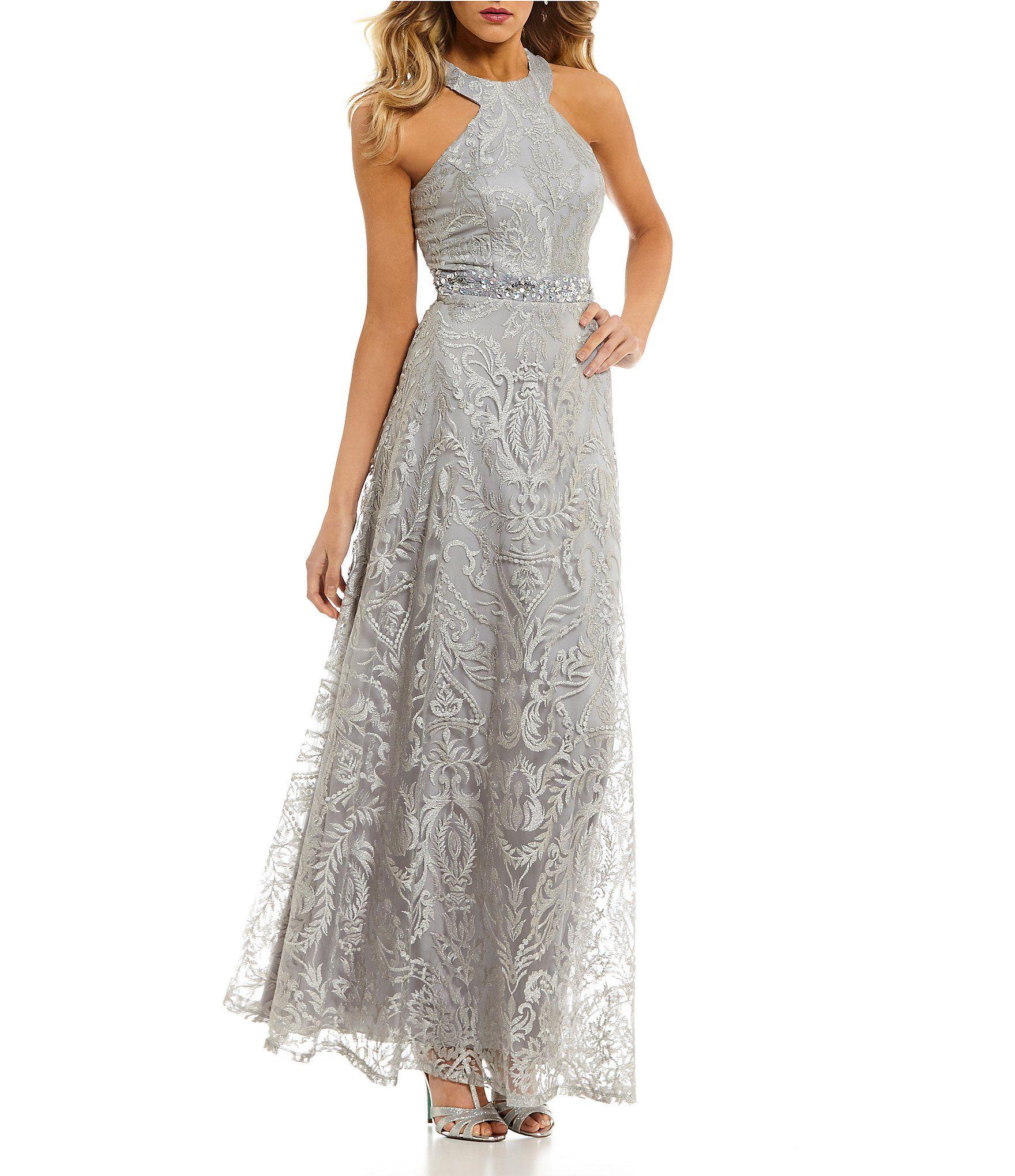 Wedding dresses dillards  Xtraordinary Racer Neckline Embroidered Long Dress  Dillards