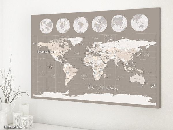 Map canvas print earth tones world map with cities 36x24 our map canvas print earth tones world map with cities 36x24 our adventures world gumiabroncs Choice Image