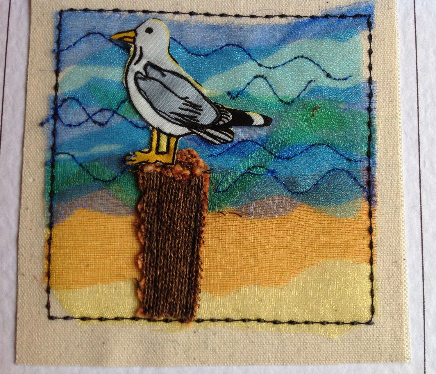 Hand made seagull card for Birthday Thank you Get well Fathers day. Textile card personalised with your words printed at the top of the card by FiddlethreadStudio on Etsy