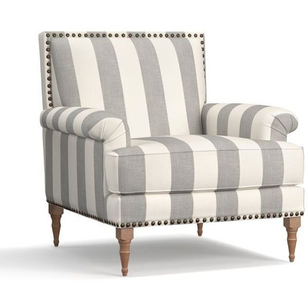Pottery Barn Paris Upholstered Armchair ($1,120) ❤ liked on Polyvore featuring home, furniture, chairs, accent chairs, upholstery chairs, fabric arm chair, nailhead accent chair, fabric accent chairs and fabric armchairs