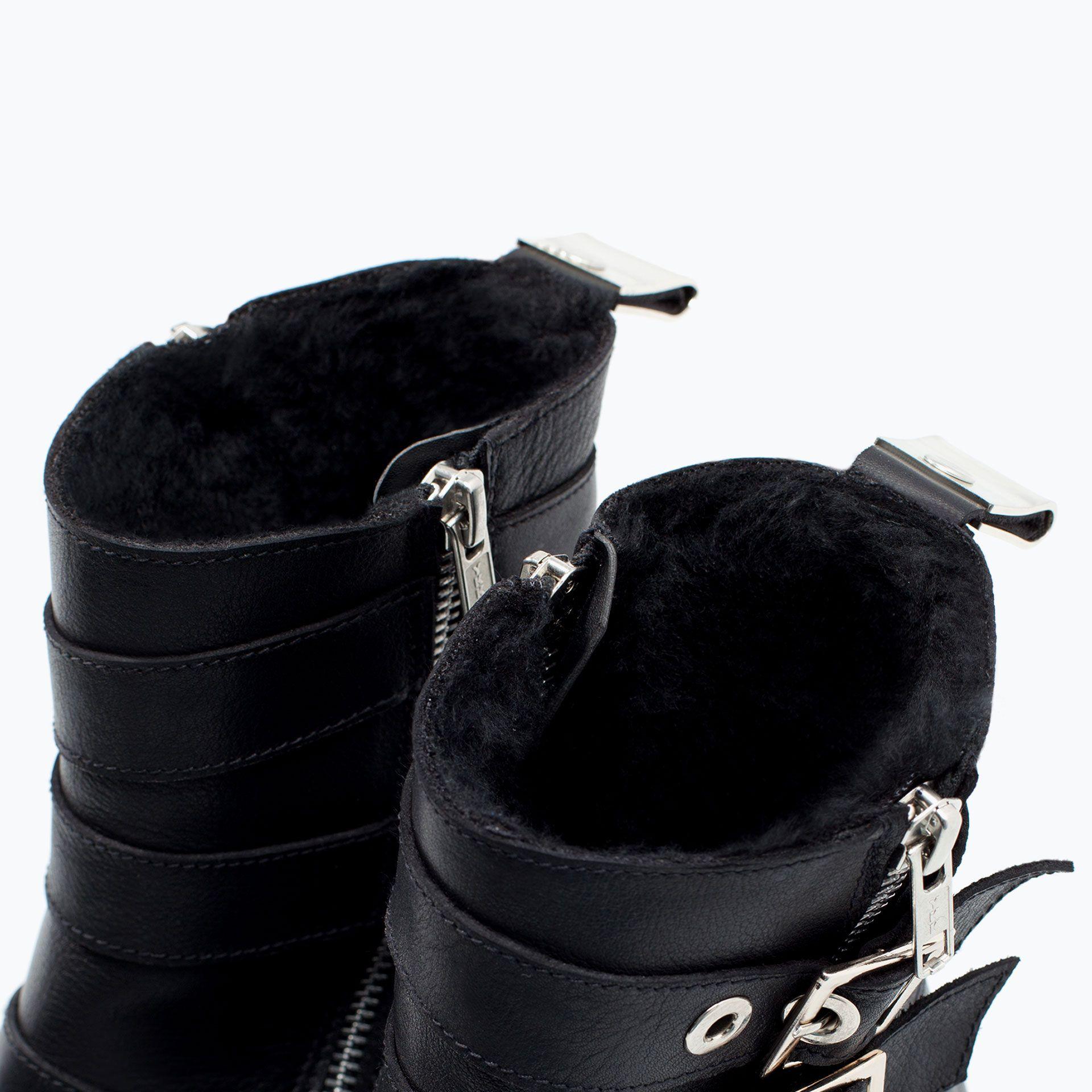 Zara Boots Motard Cuir Doublure Fourree 72 Acrylique 15