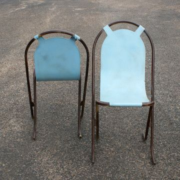 1930s french industrial metal garden chairs