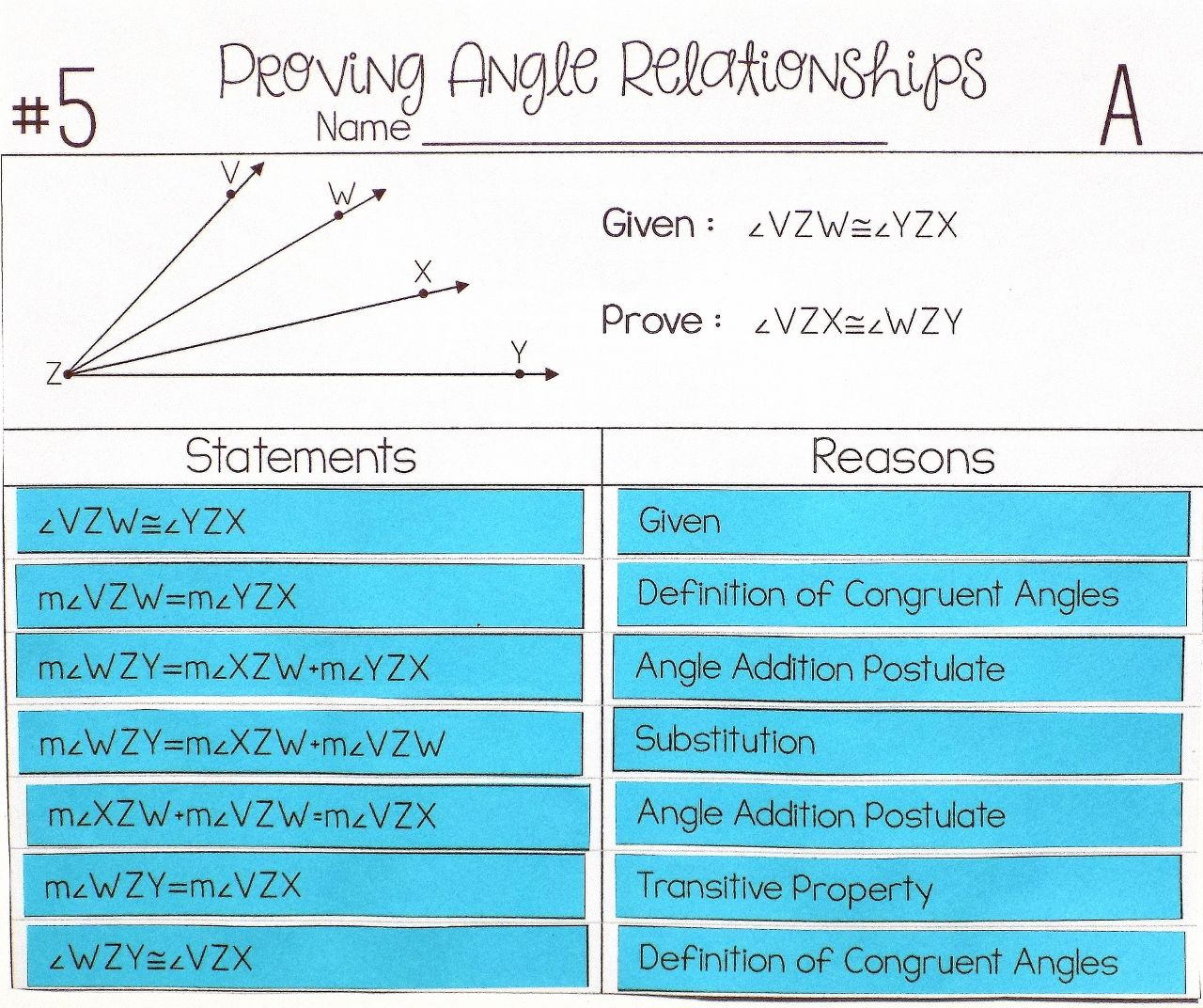 Angle Relationships Proof Activity | Math 1 | Pinterest | Activities ...