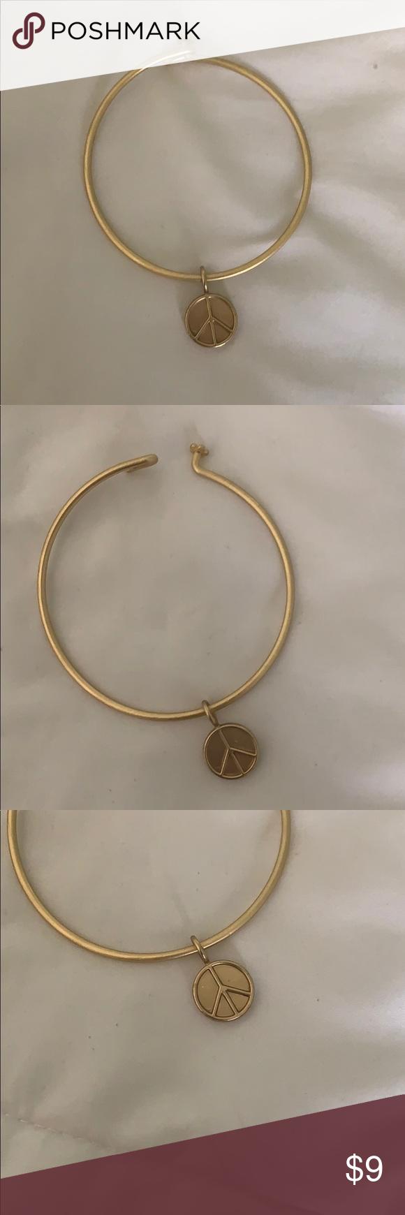 Gold Peace Sign Charm Bracelet Peace Sign Charm Gold Bracelet Charm Bracelet