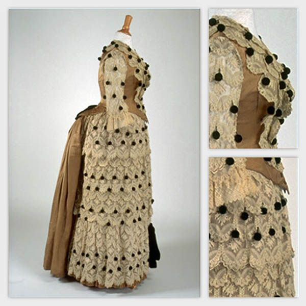 Dress ca. 1880s. Embroidery on machine-made tulle, silk. Photo: Richard-Max Tremblay. Musée du Costume et du Textile du Québec