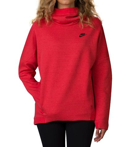 NIKE WOMENS NSW TECH FLEECE HOODIE PULLOVER Medium Red | Nike NSM ...