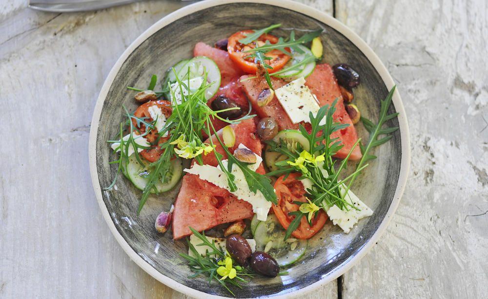 rucola salat mit wassermelone rezepte mit herz pinterest. Black Bedroom Furniture Sets. Home Design Ideas