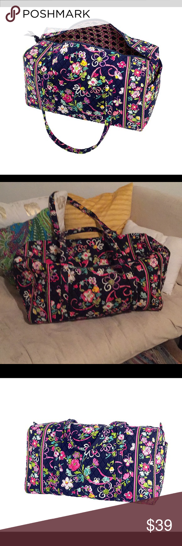 8dfeab8036f2 Vera Bradley Ribbons Large Duffel Bag Carry On Excellent bag- in like new  condition. 1 end pocket. Vera Bradley Bags Travel Bags
