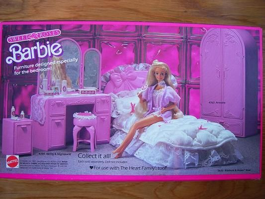 Barbie Sweet Roses Bedroom Set Furniture Collection 80s