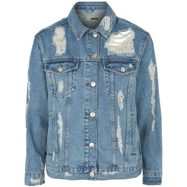 8d4f94cb3e Topshop Moto Rip Oversized Denim Jacke (£49) ❤ liked on Polyvore featuring  outerwear
