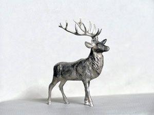Sterling Silver Stag Deer Miniature Deer Sculpture by egszeresz, $870.00