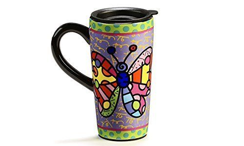 "Romero Britto ""New"" Travel Mug- Butterfly Design by Romero Britto: Amazon.it: Casa e cucina"