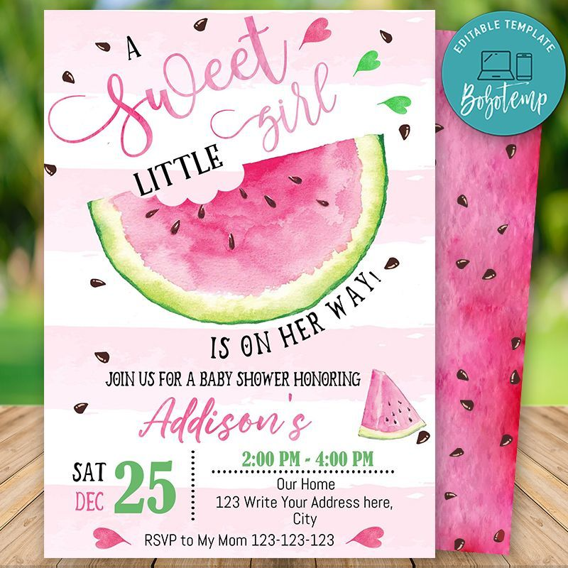 Printable Watermelon Baby Shower Invitation Instant Download