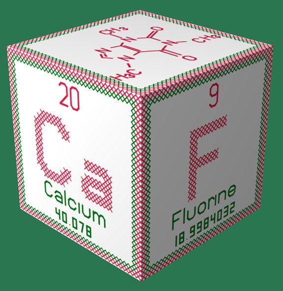 Periodic Element Caffeine 3D Ornament Cross Stitch by robinsdesign - new periodic table elements pdf