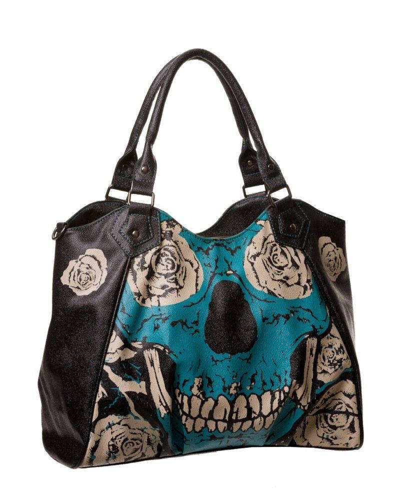 Jawbreaker Womens Blue Floral Skull Backpack  Alternative Gothic