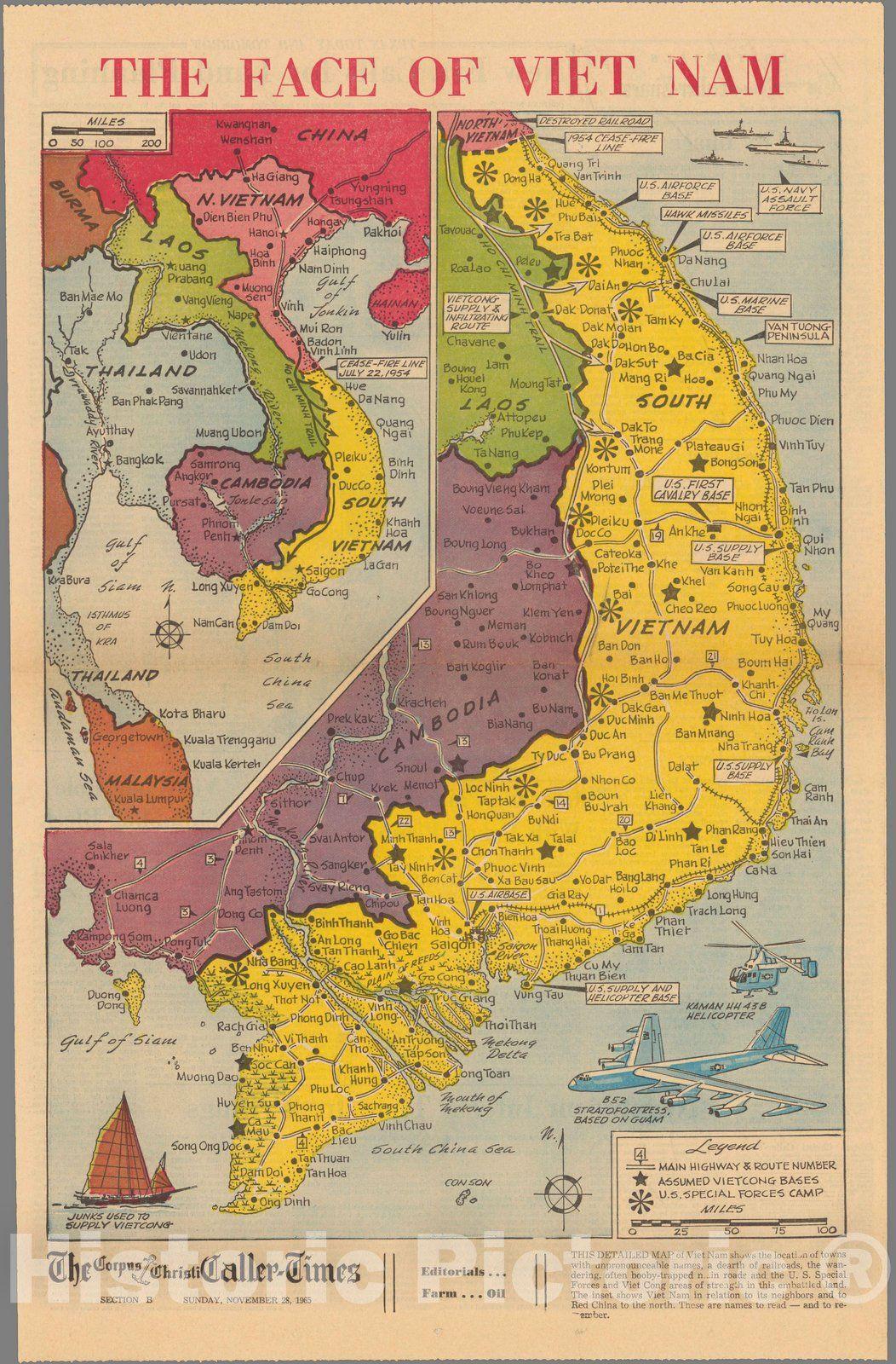 Historic Map Newspaper Map Face Of Vietnam 1965 Vintage Wall Art Vietnam Map Vietnam War Vietnam