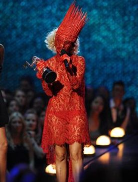 Yaris Lady Gaga  Lady Gaga Red Lace Outfit @VMA 2009  Lady Gaga ...